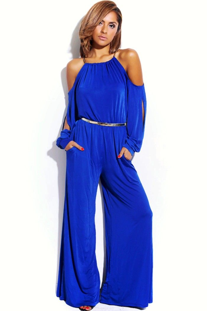 c03e325d9fd blue slinky cut out cold shoulder outfit WHO  Stunner