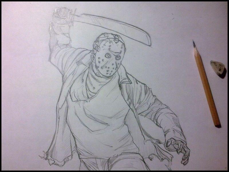 Luxury How To Draw Jason Voorhees Com Imagens Desenhos Preto E