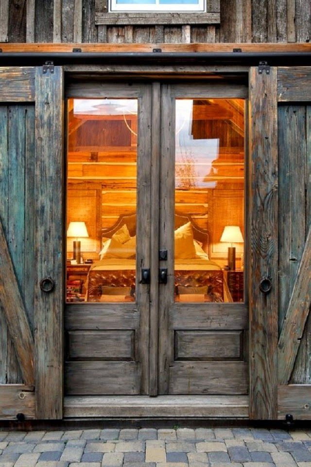 Double Wooden Glass Barn Entry Doors