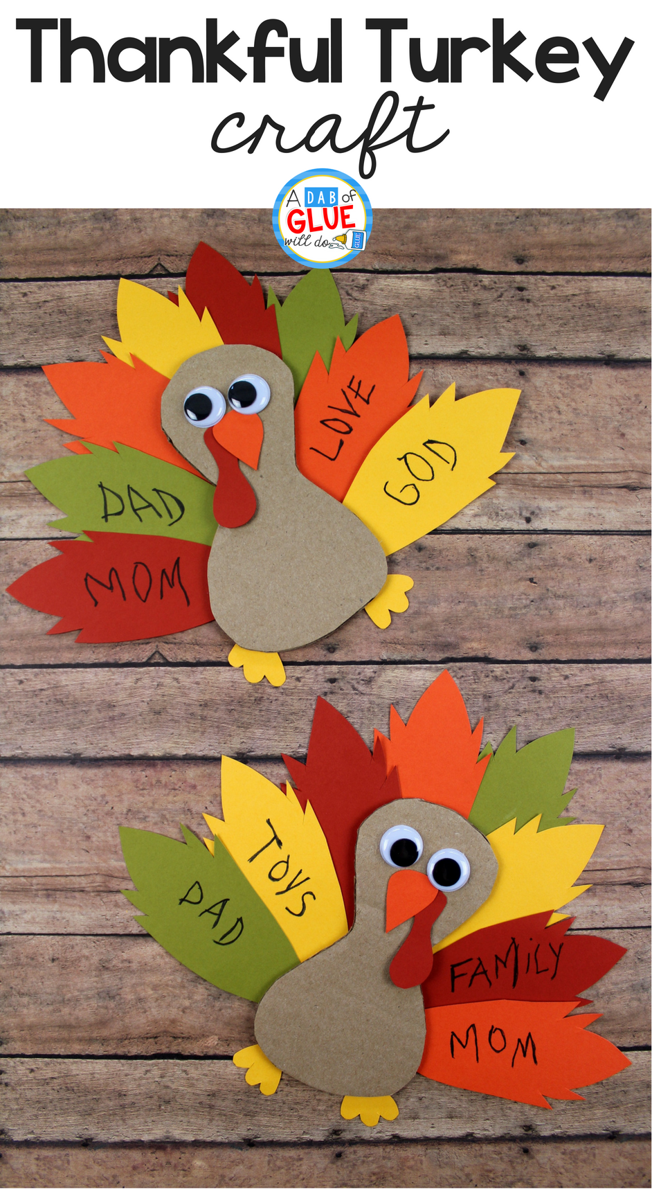 Cardboard Thankful Turkey Craft #fallcraftsfortoddlers