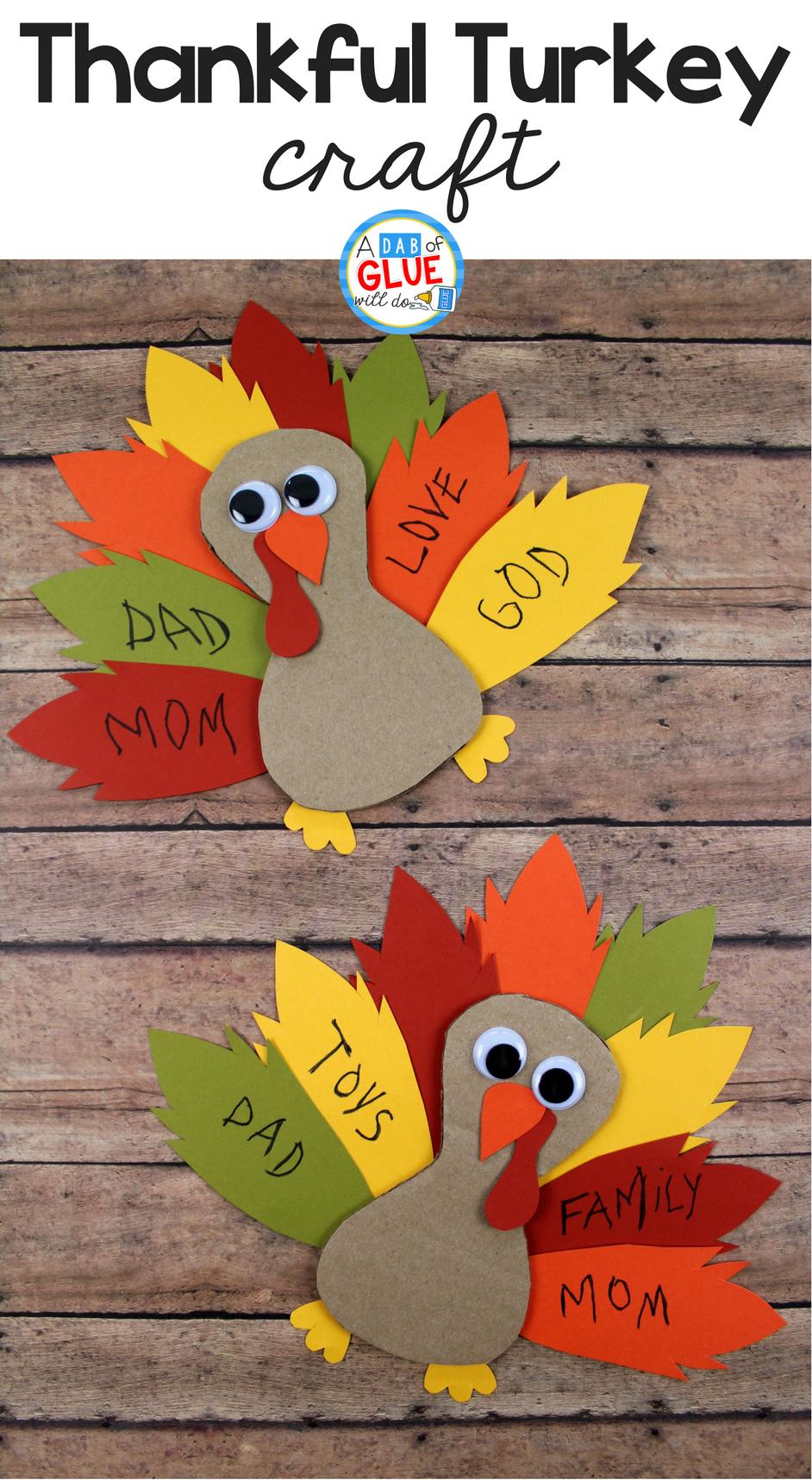 Cardboard Thankful Turkey Craft Dab Of Glue