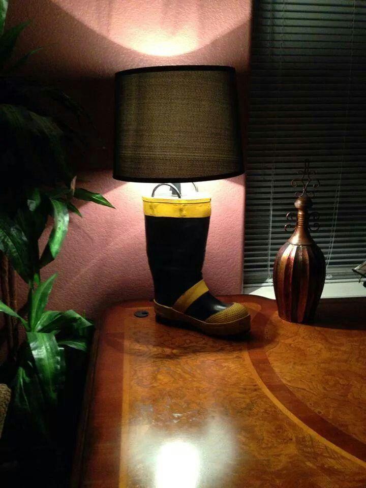 Boot Lamp Firefighter Room Firefighter Decor Fire Dept Decor