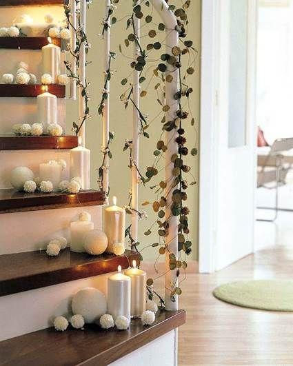 Decoración navideña de escaleras Decoración navideña, Escalera y