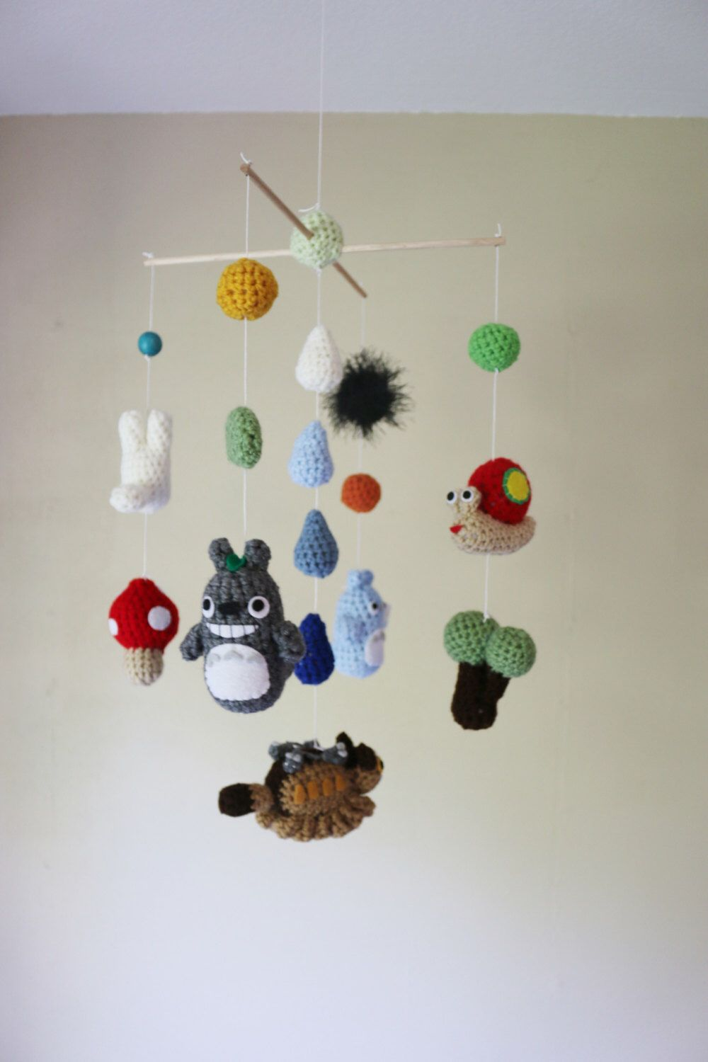 Crochet Totoro Nursery Mobile with Neko Bus (Made-To-Order ...