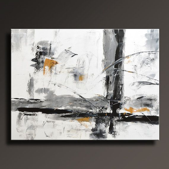 ABSTRACT PAINTING Black White Gray Gold Painting Original Canvas Art