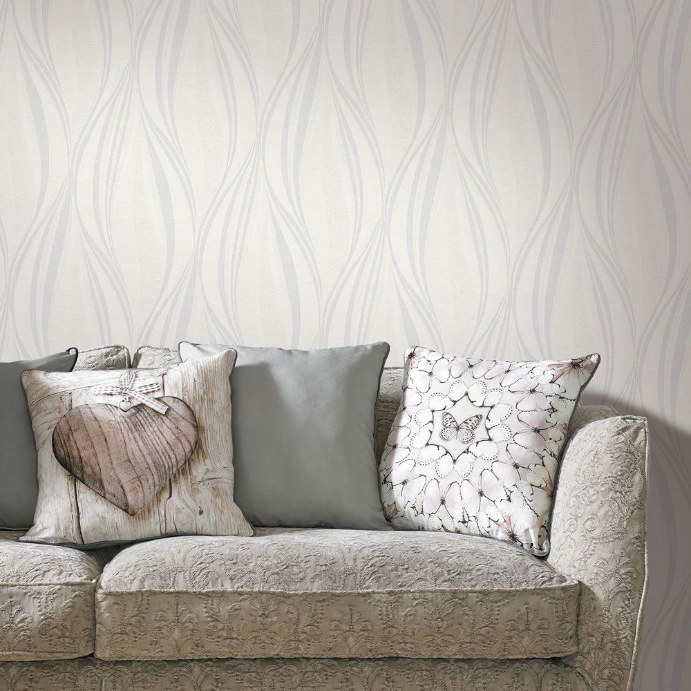 Boutique Vinyl Tango White and Silver Wallpaper Casa de