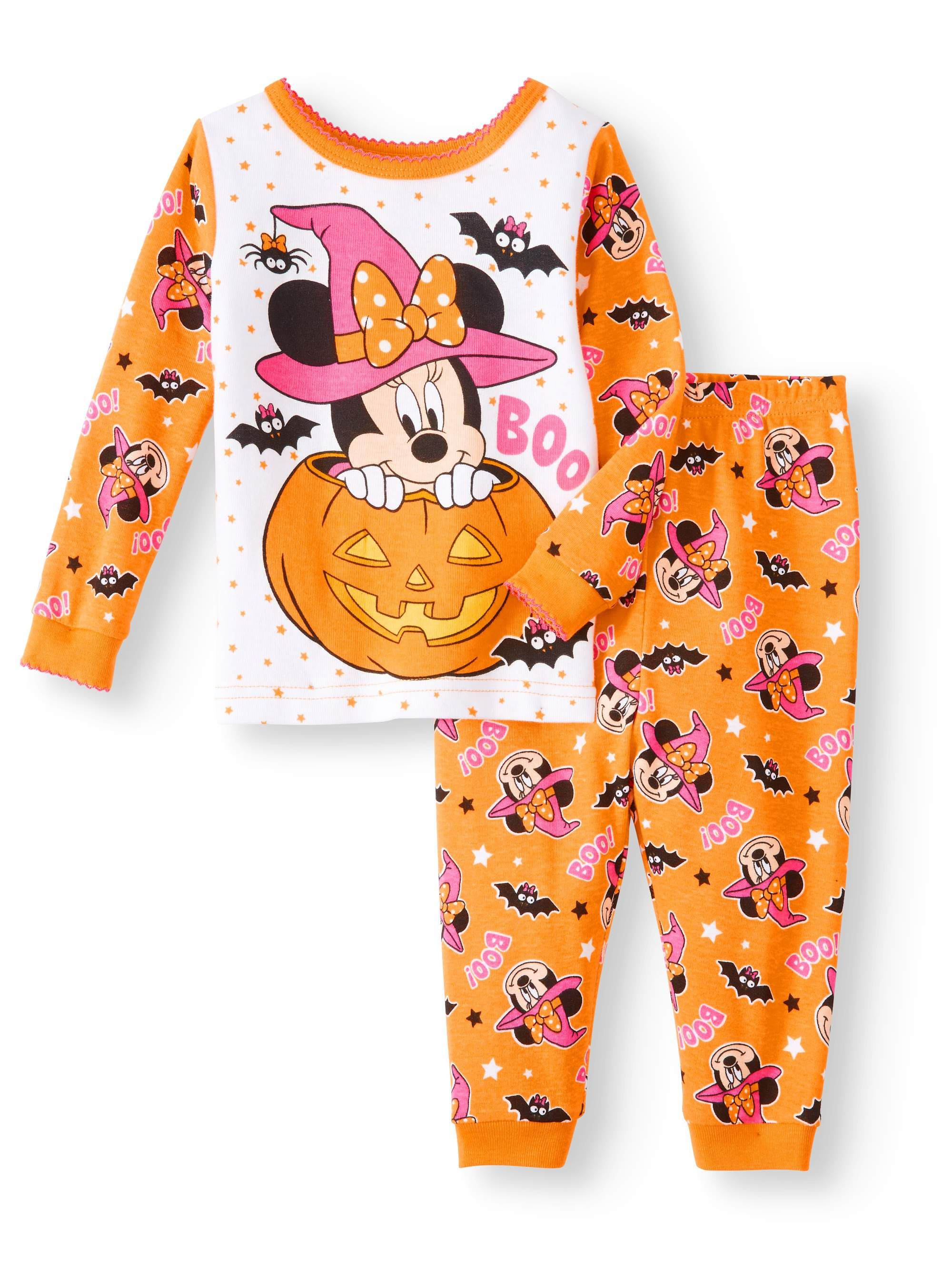 halloween glow-in-the-dark cotton tight fit pajamas, 2-piece set