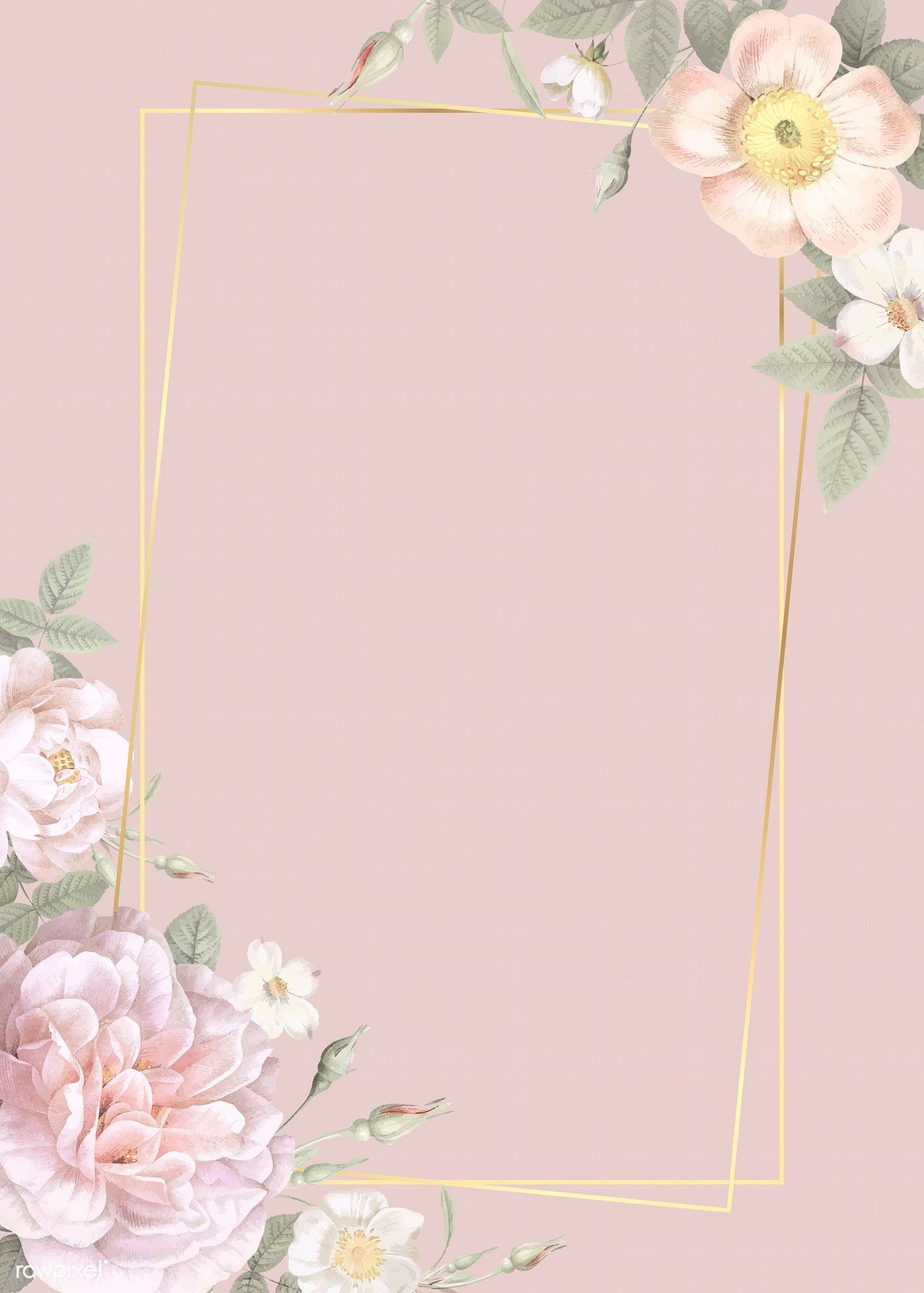 Download Premium Vector Of Hand Drawn Floral Rectangle Gold Frame