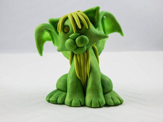 Green batsy cat, winged cat figure, clay cat, clay bat, creepy cute, desk decor, desk figure, clay miniature, clay critter, clay sculpture