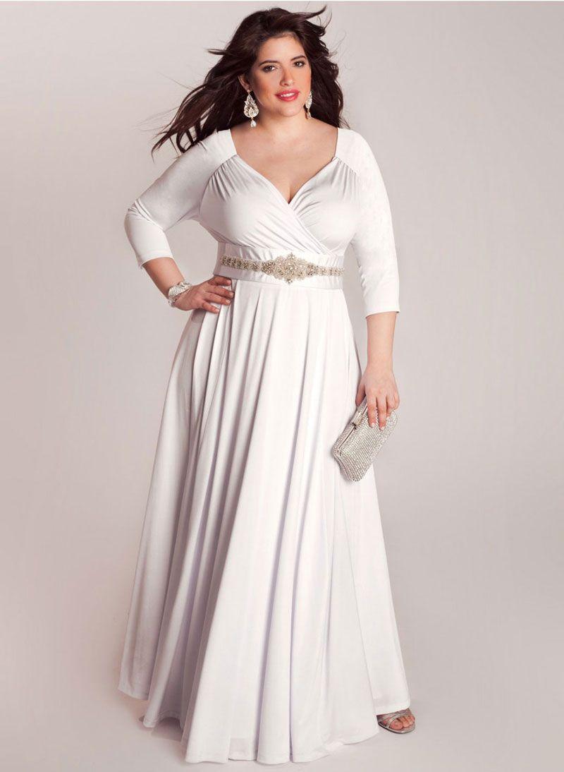 V Neck plus Size Wedding Dress with Sleeves