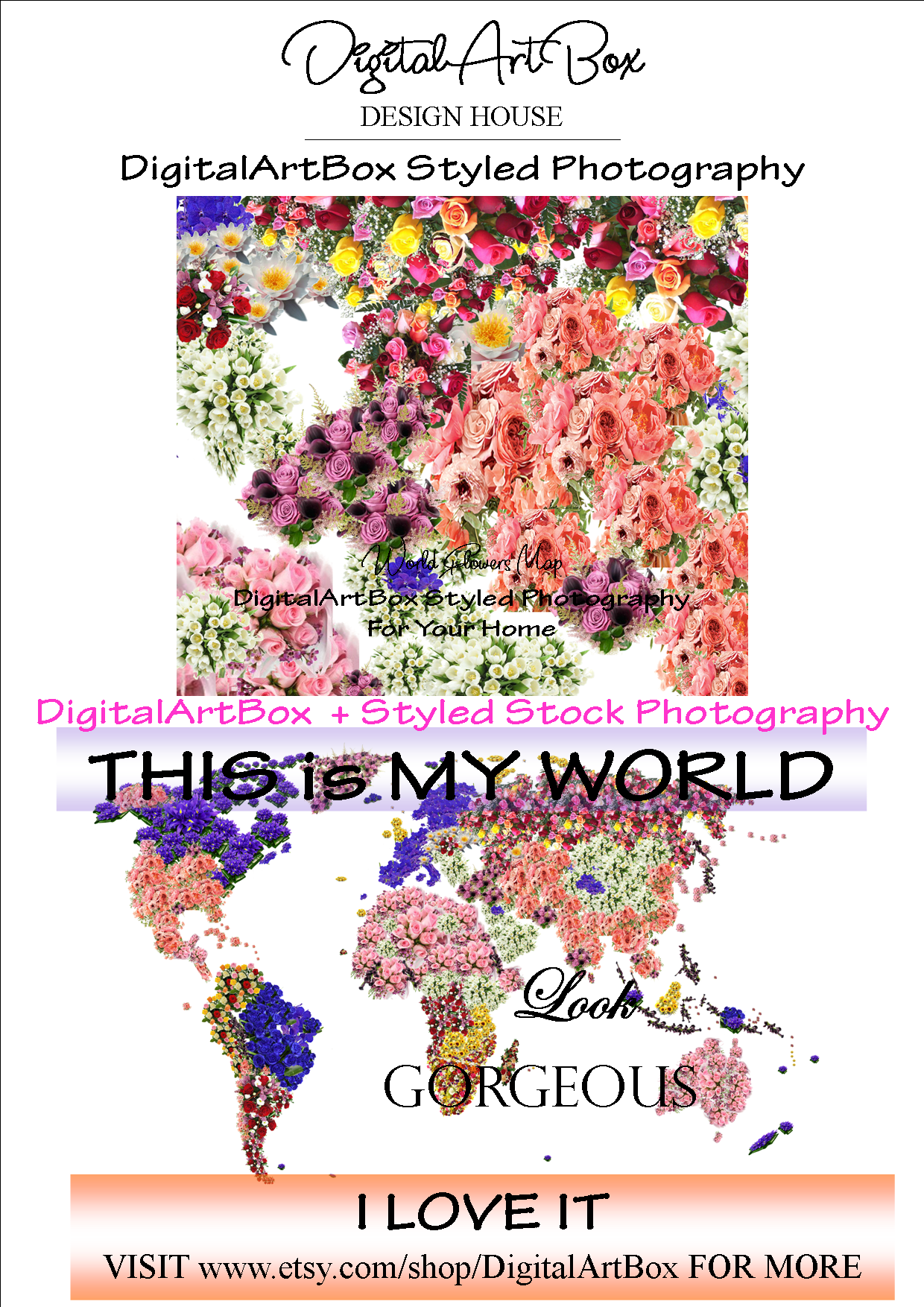 Very Large Custom World Map Travel Theme Floral World Map Custom