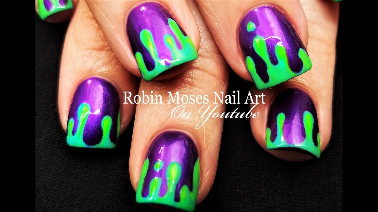 Good Morning Up For Monday Just Some Green Goo I Am Gearing Up For Halloween Check Out My Youtub Halloween Nail Designs Halloween Nails Halloween Nails Diy