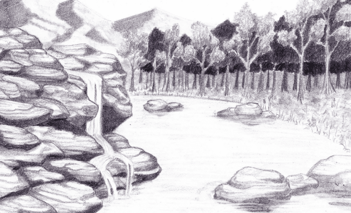 30 Gambar Pemandangan Pegunungan Dengan Menggunakan Pensil Ditambah Dengan Adanya Berbagai Pohon Pinus Yang Berje Gambar Lanskap Pemandangan Lukisan Lanskap
