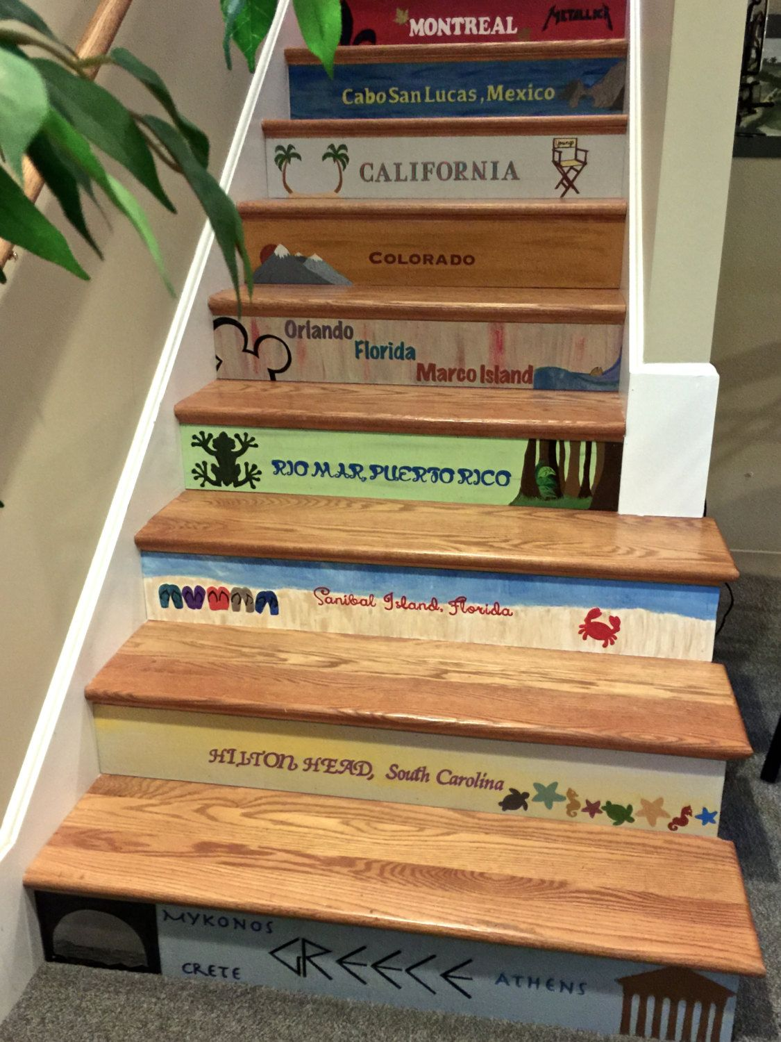 Customizable Beach Theme Stair Riser Mural Cut To The Height And Length Of  Your Stairs (