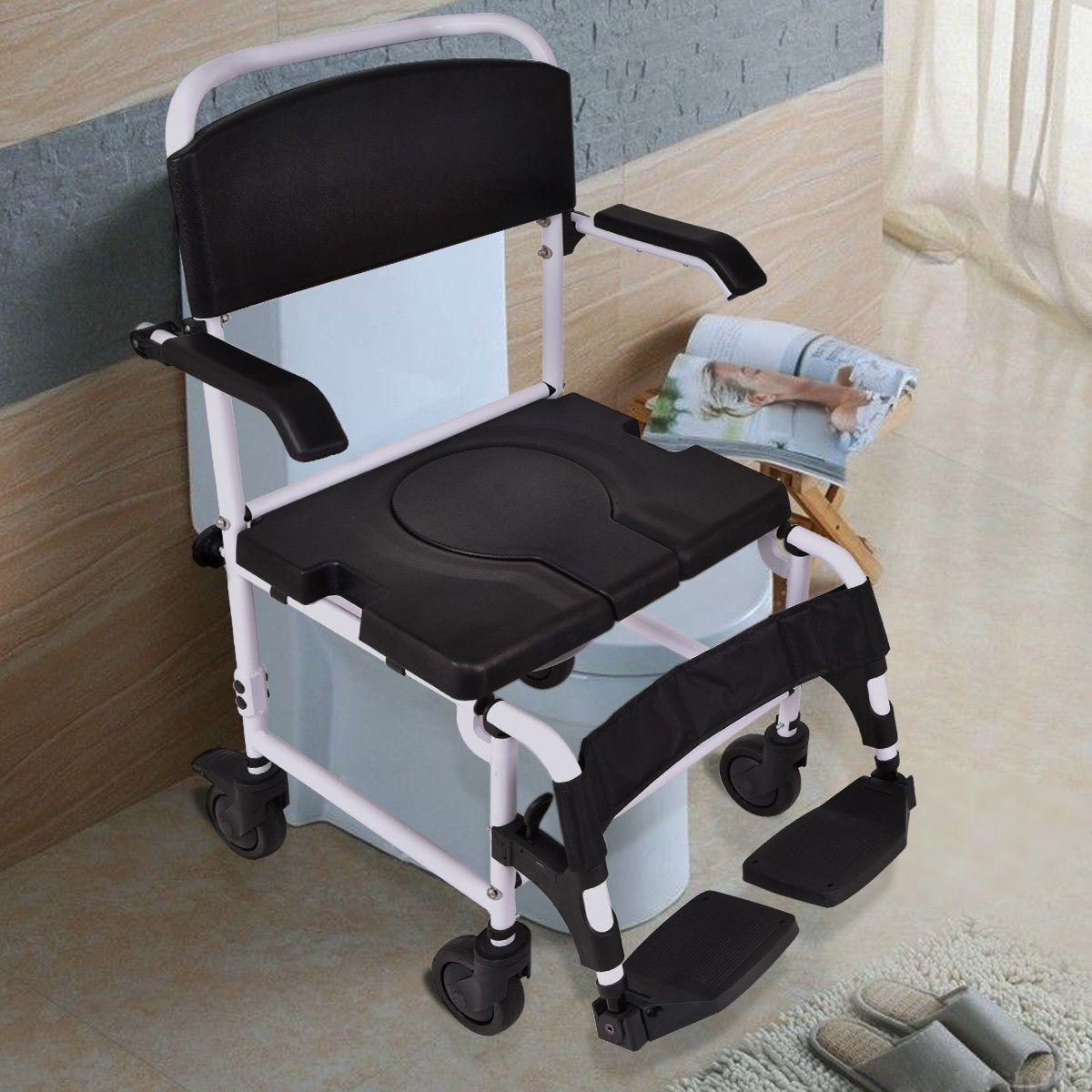 Bathroom Shower Toilet Commode Wheelchair W Drop Arms Toilet Commode Commode Chair Comfy Accent Chairs