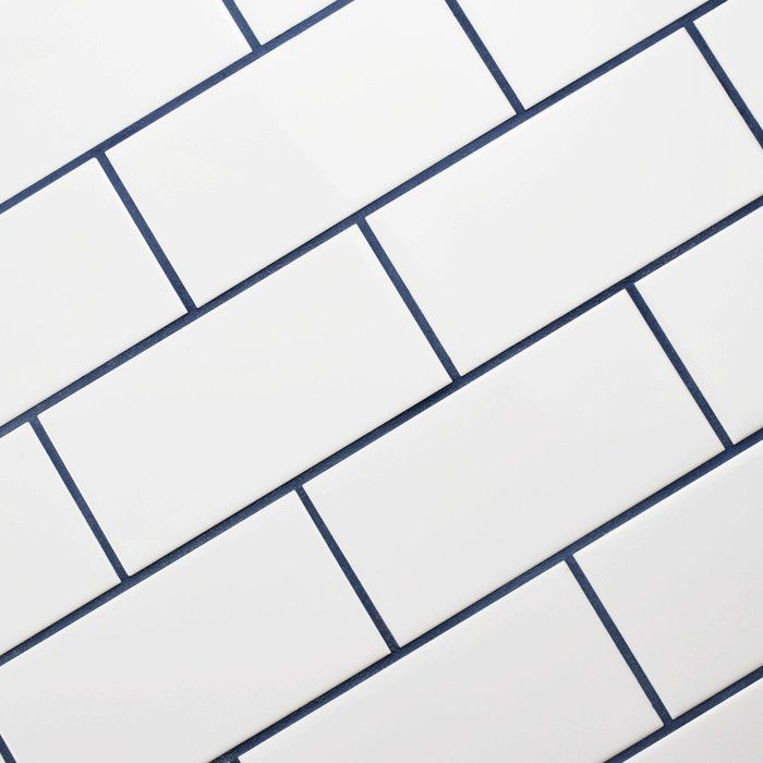 White Gloss Tile Blue Grout White Tile Backsplash Ceramic Tile
