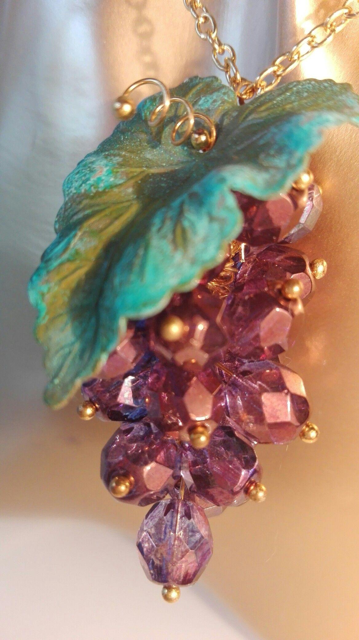 Necklace Naszyjnik Halskette Earings Kolczyki Ohrringe Grapes