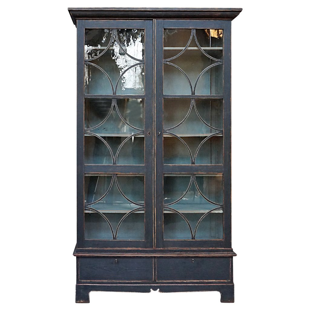 Black Painted Swedish Bookcase   From a unique collection of antique and modern cabinets at https://www.1stdibs.com/furniture/storage-case-pieces/cabinets/