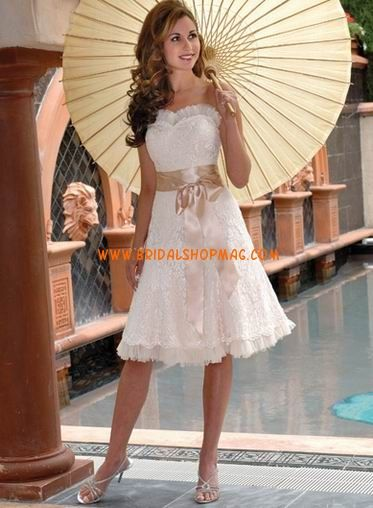 Strapless Sweetheart Embroidery Sash Satin Short Wedding Dresses