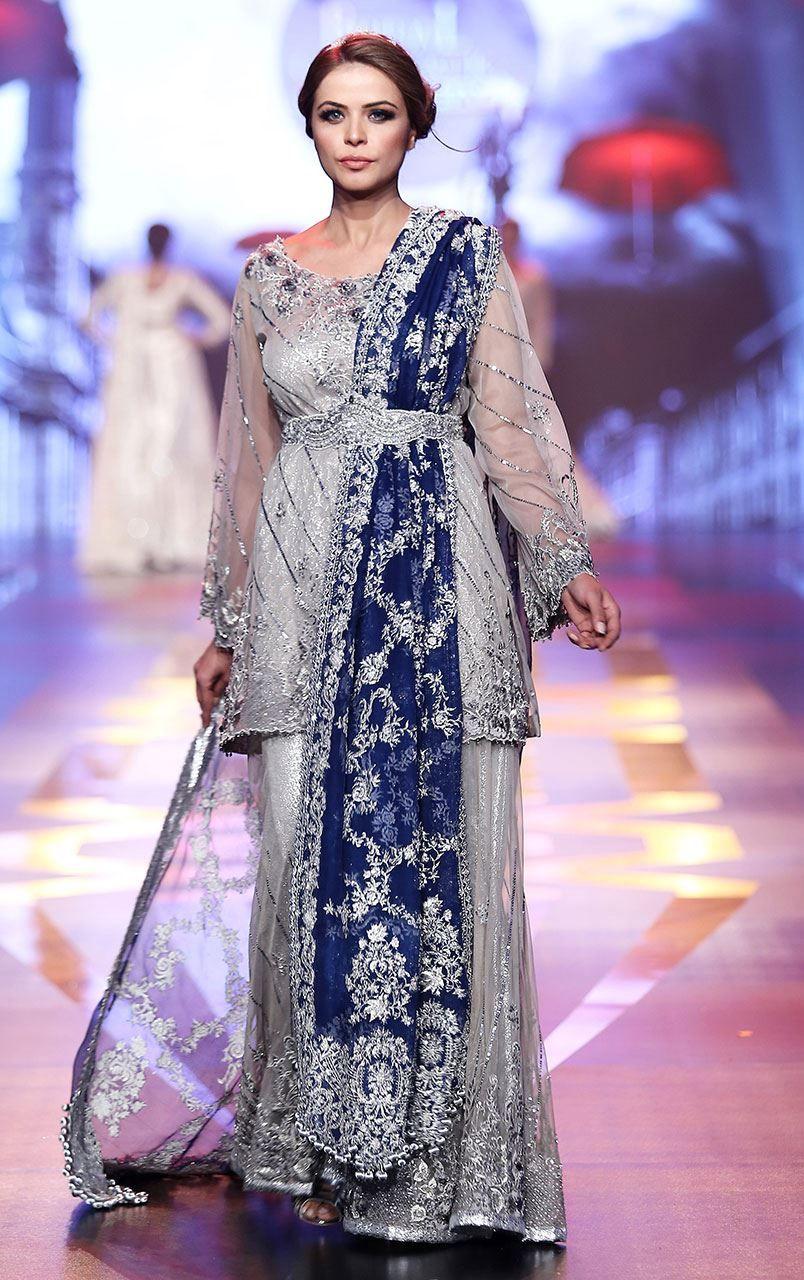 Silver Grey Bridal Dress Short Shirt Embroidered Sharara Royal