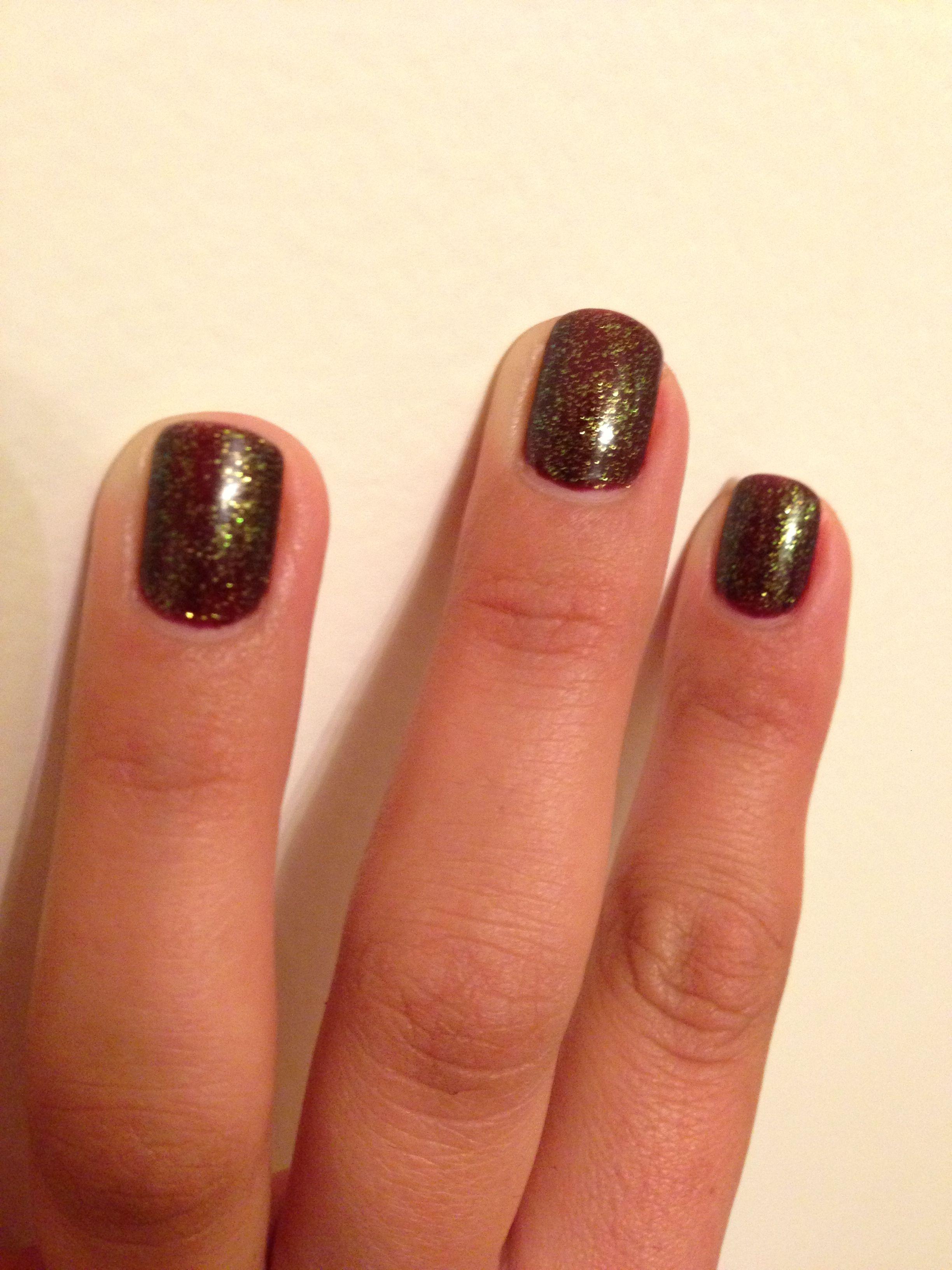 Eggplant with green glitter gel nails Glitter gel