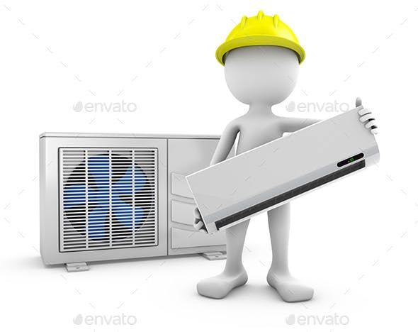 Man And Air Conditioner Air Conditioning Logo Air Conditioner