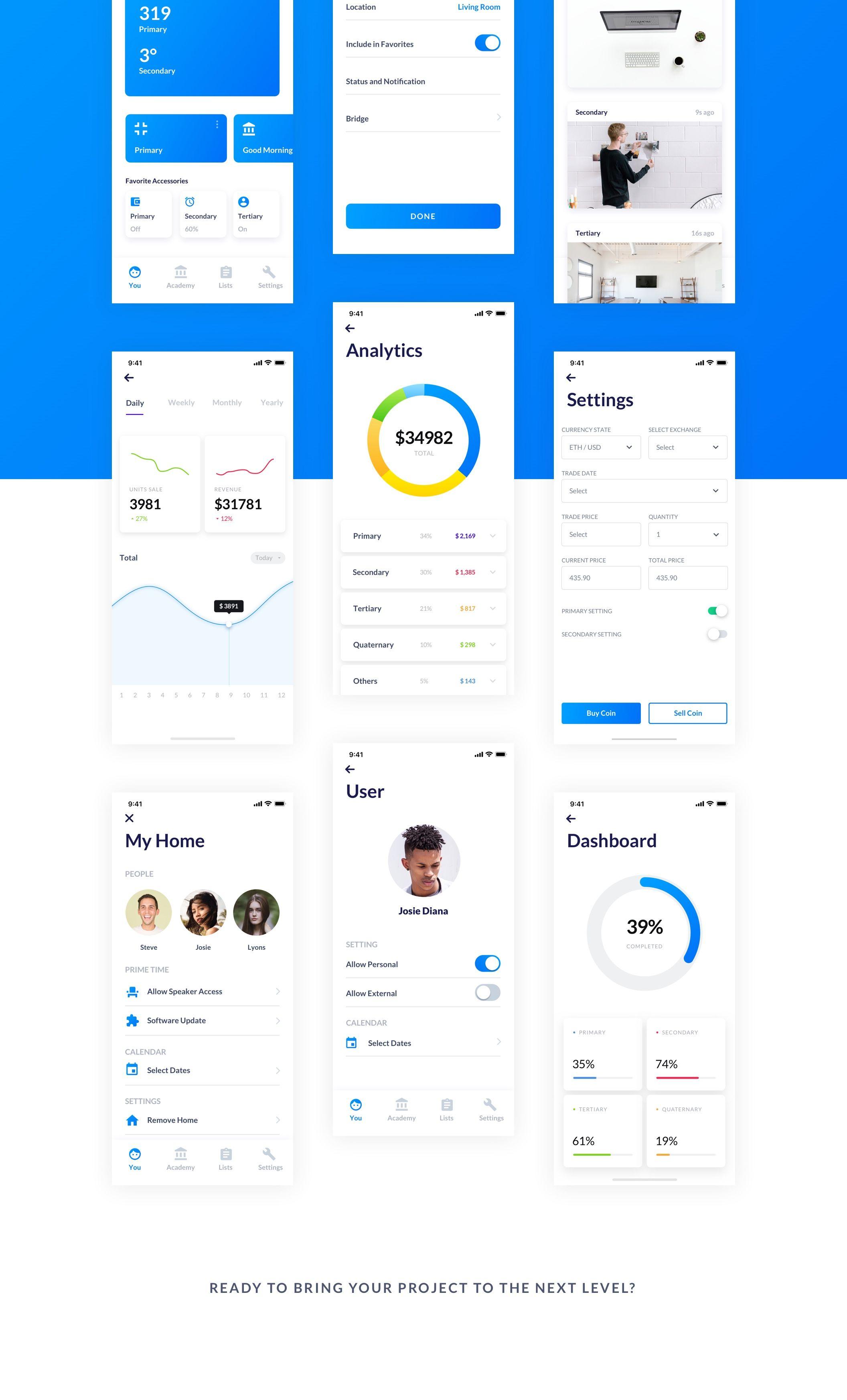 Simplicity iOS — UI Kits on UI8 | App dark ui design | Ui kit, Ios