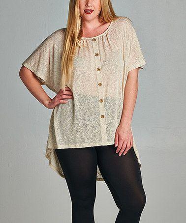 Look at this #zulilyfind! Beige Crochet Button-Up Hi-Low Top - Plus #zulilyfinds