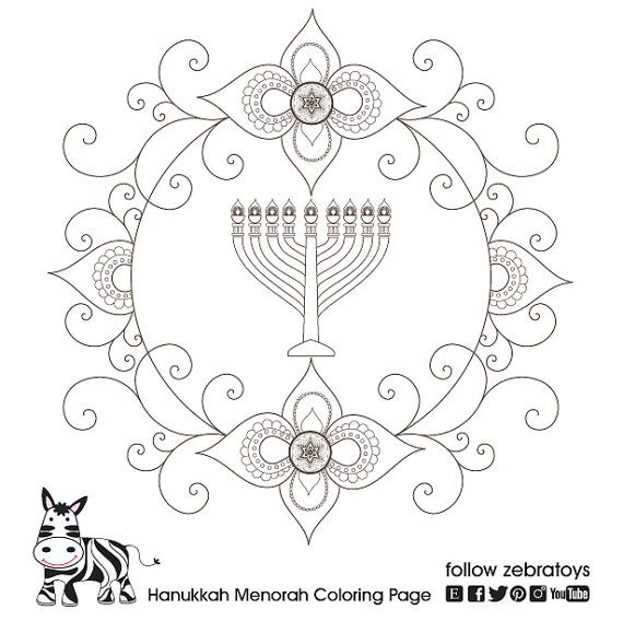 Hanukkah Menorah Coloring Page Hanukiah Printable Canukkah Candles