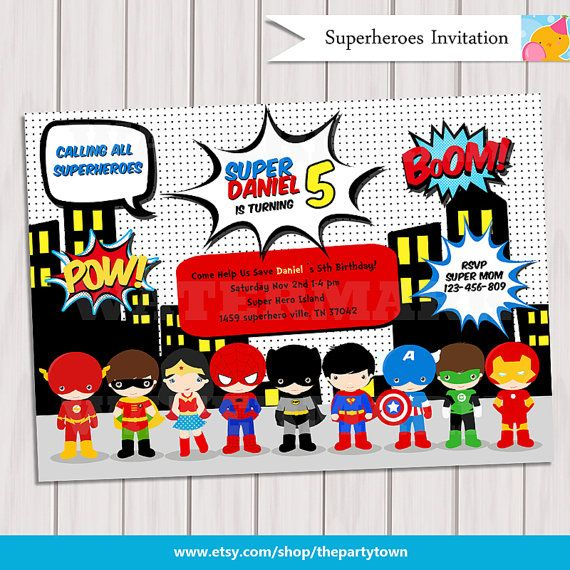 Super Hero Birthday Party Pop Art Superhero Invitation Invite – Superheroes Party Invitations
