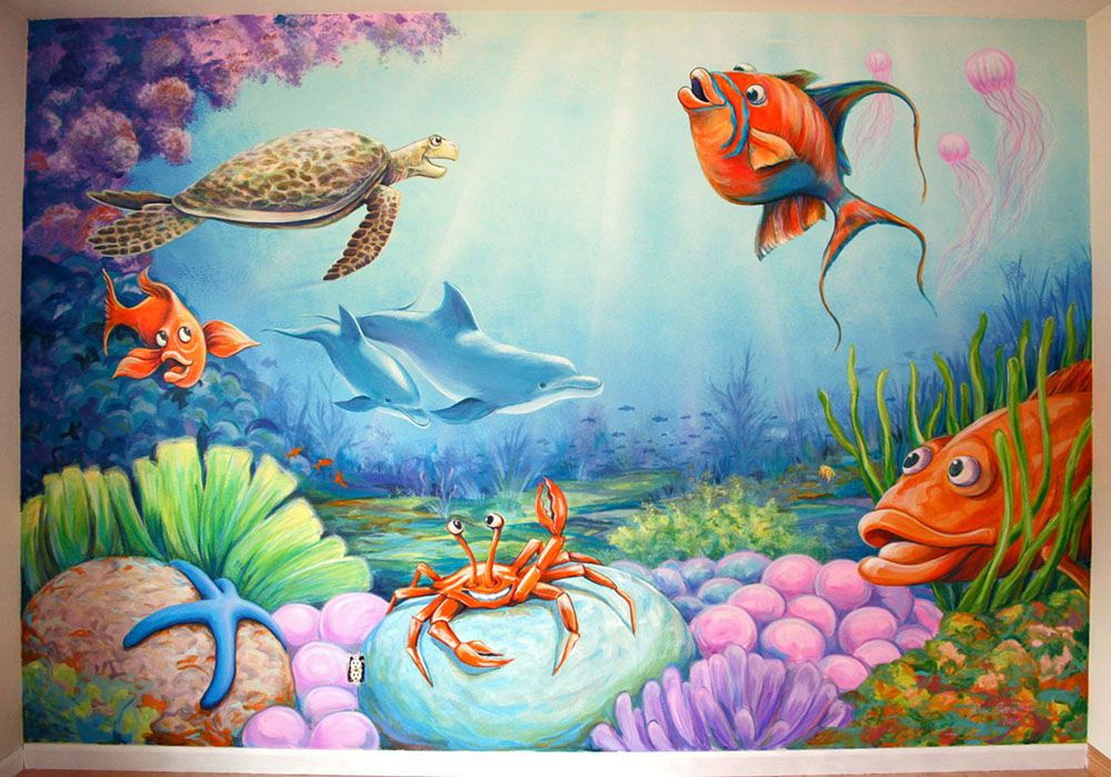 Underwater mural painted on wall in child 39 s bedroom by for Underwater mural ideas