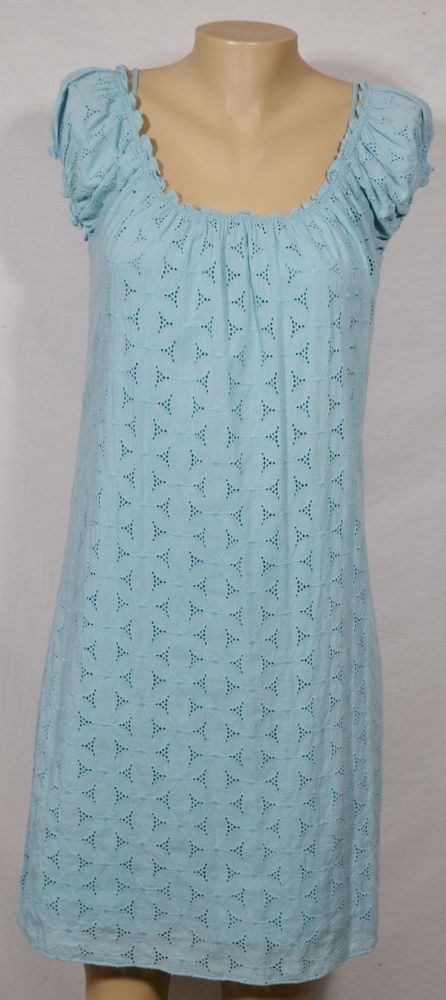 MAX STUDIO Light Blue Eyelet Dress Large Cap Sleeves Elastic Neckline Lined #MaxStudio #Shift #Casual