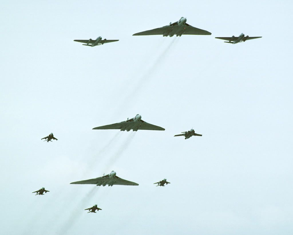 Vulcan's, Canberra's, a Buccaneer, a Harrier and Jaguar's