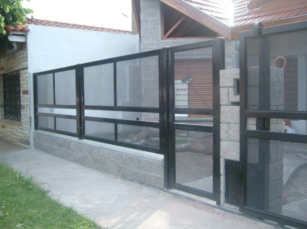 Herreria frente rejas portones puertas seguridad mla for Modelos de portones de hierro fotos