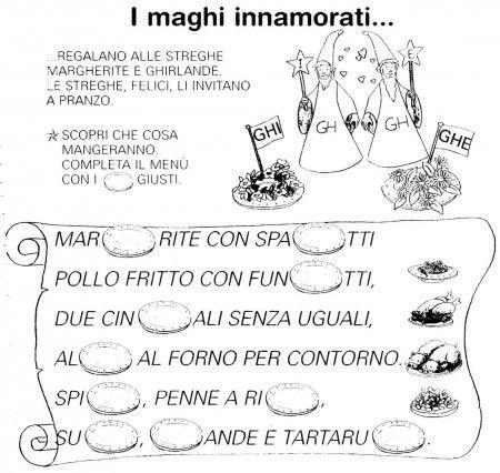 Scheda i maghi innamorati ghi ghe classe prima italiano for Suoni difficili schede didattiche