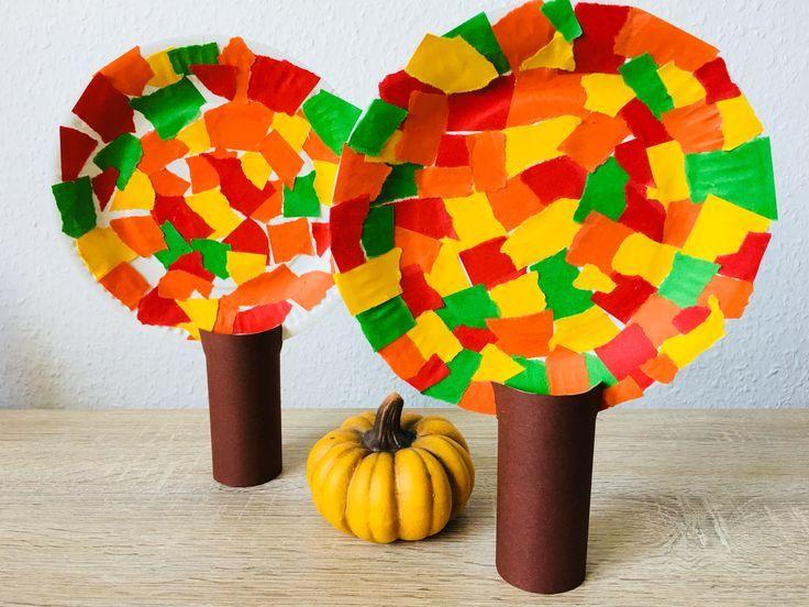 Herbstbäume aus Pappteller – Basteln mit Kindern | Der Familienblog für kreative Eltern