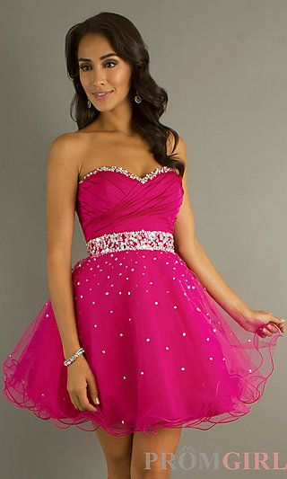 Short Strapless Babydoll Dress by Mori Lee 9184 at PromGirl.com ...