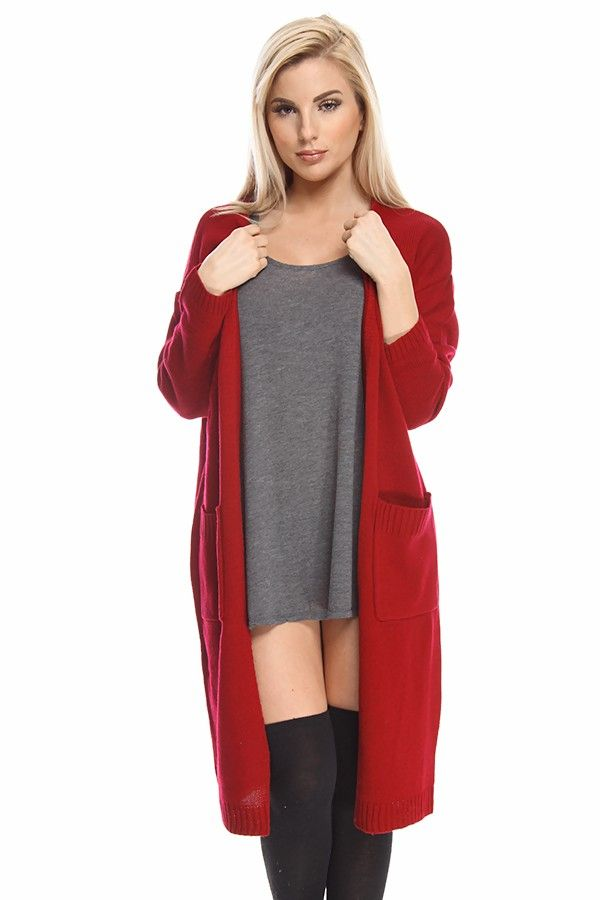 burgundy cardigan#long sleeve cardigan#knit cardigan#long cardigan ...