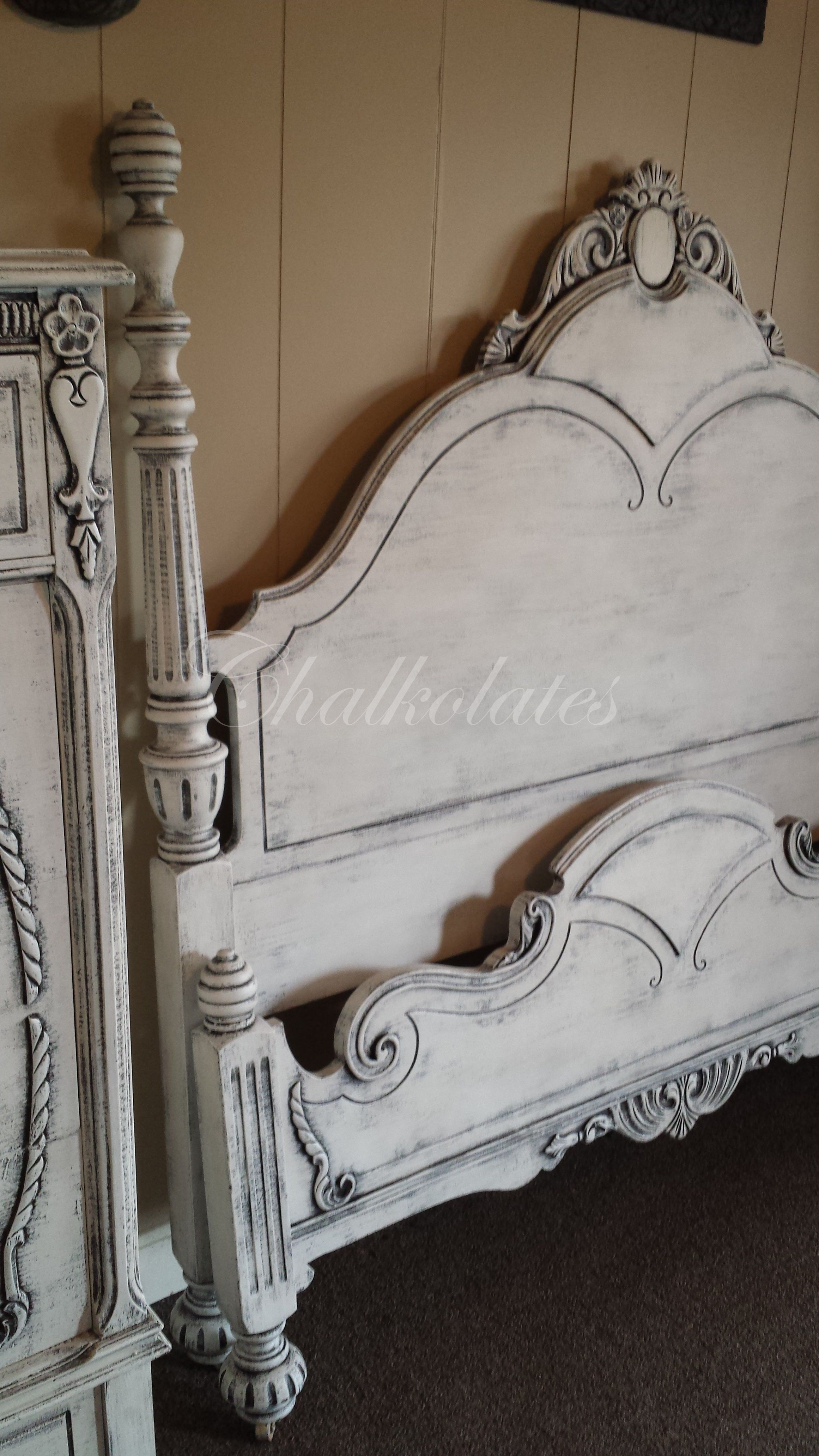 Custom Painted Bed Frame By Chalkolates Shabby White Distressed Antique Glazed Vinta Painted Bedroom Furniture Living Room Upholstery Painted Bed Frames