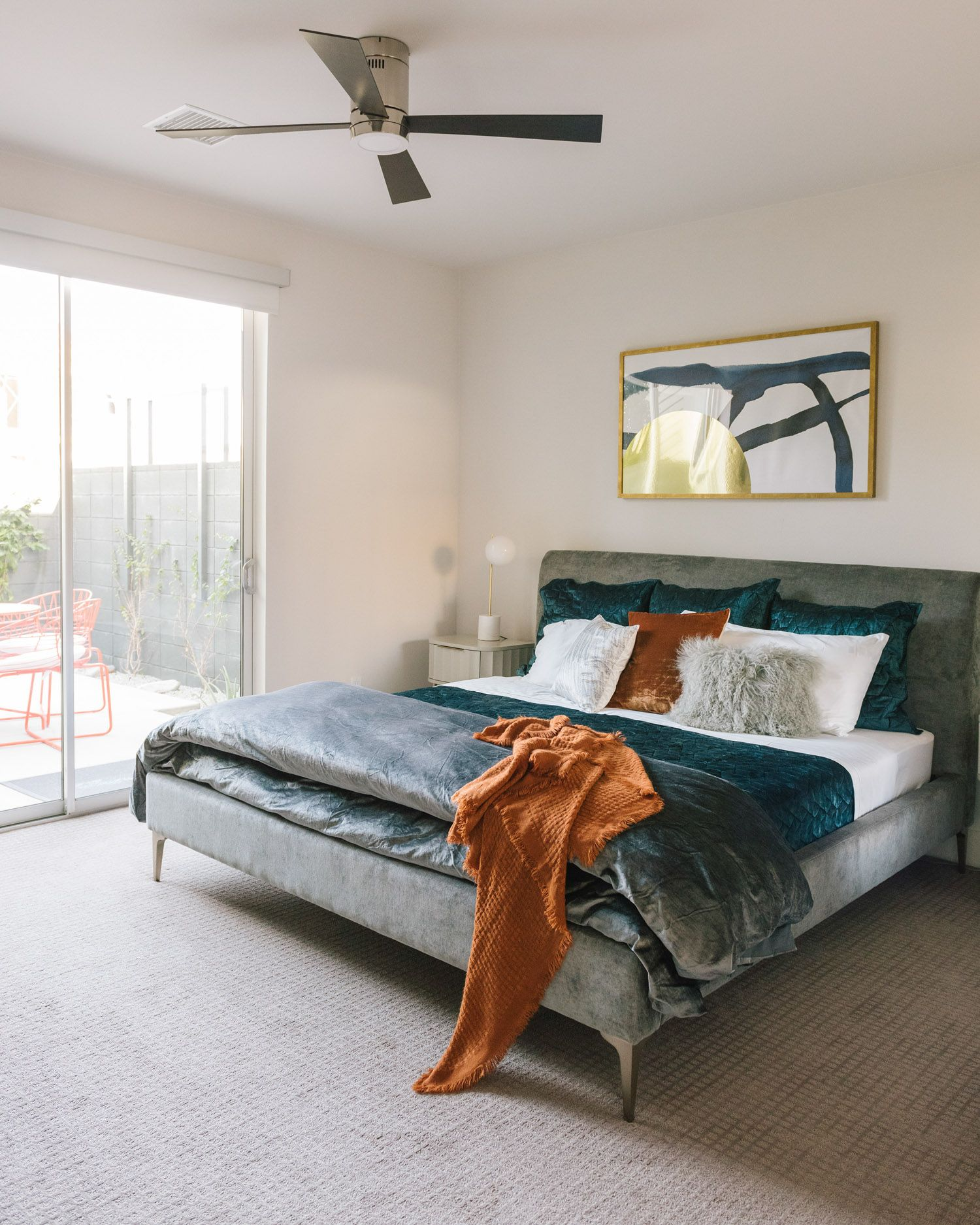 Velvet Bedding With White Gray Blue And Rusty Orange Accents