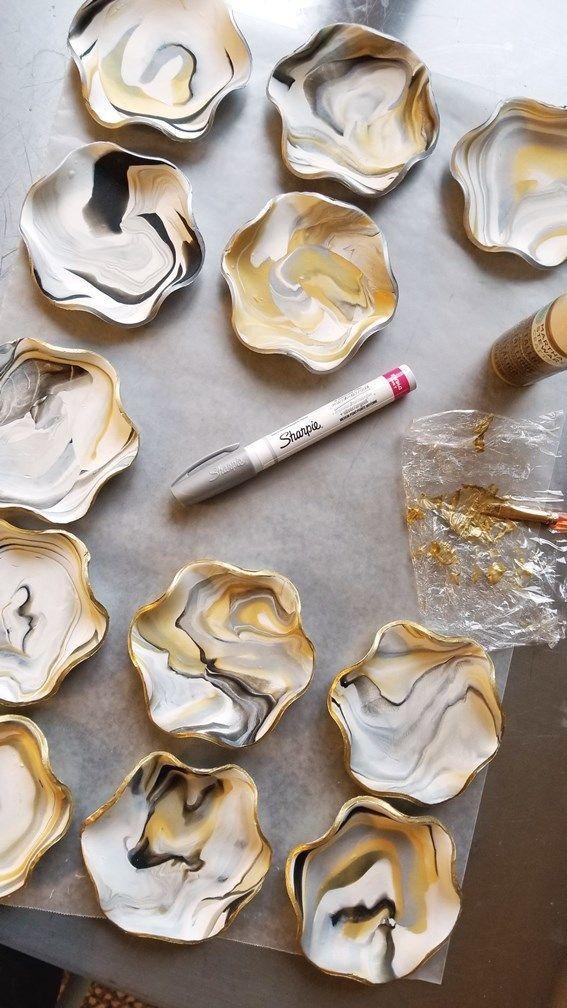 Photo of DIY Marbled Clay Ring Dish