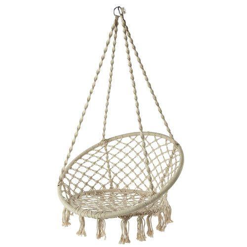 fauteuil de jardin à suspendre tressé blanc gabriela | déco ... - Chaise Corde Tressee