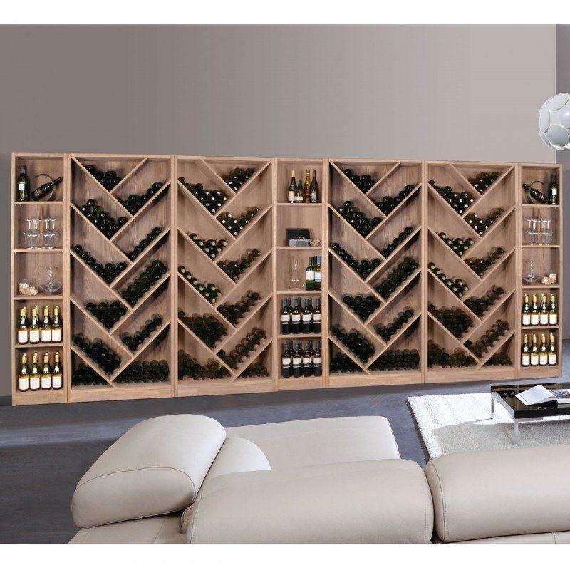 Weinregal Serie Prestige Aus Eiche Massiv Braun Gebeizt Etagere A Vin Rangement Bouteille De Vin Amenagement Cave A Vin