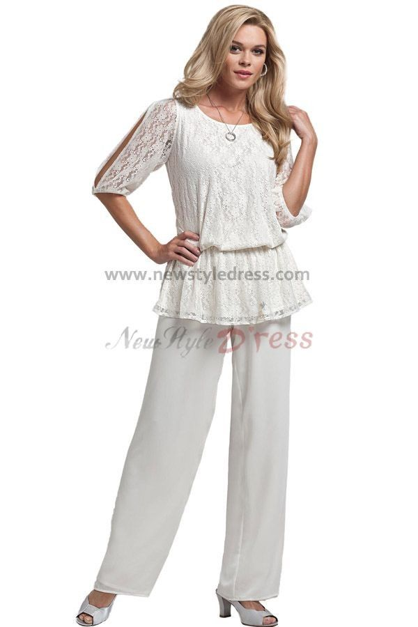 Summer White Chiffon Two Piece mother of the bride dresses pants ...