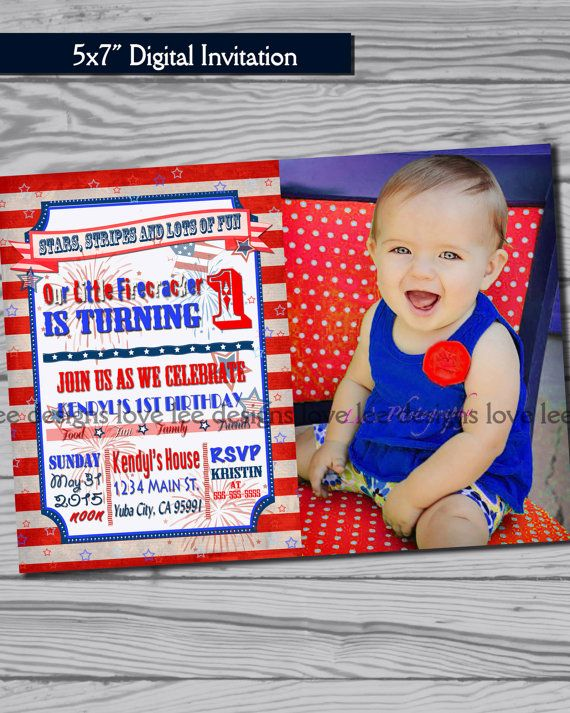 4th Of July Invitation First Birthday Party By LoveLeeDesigns1