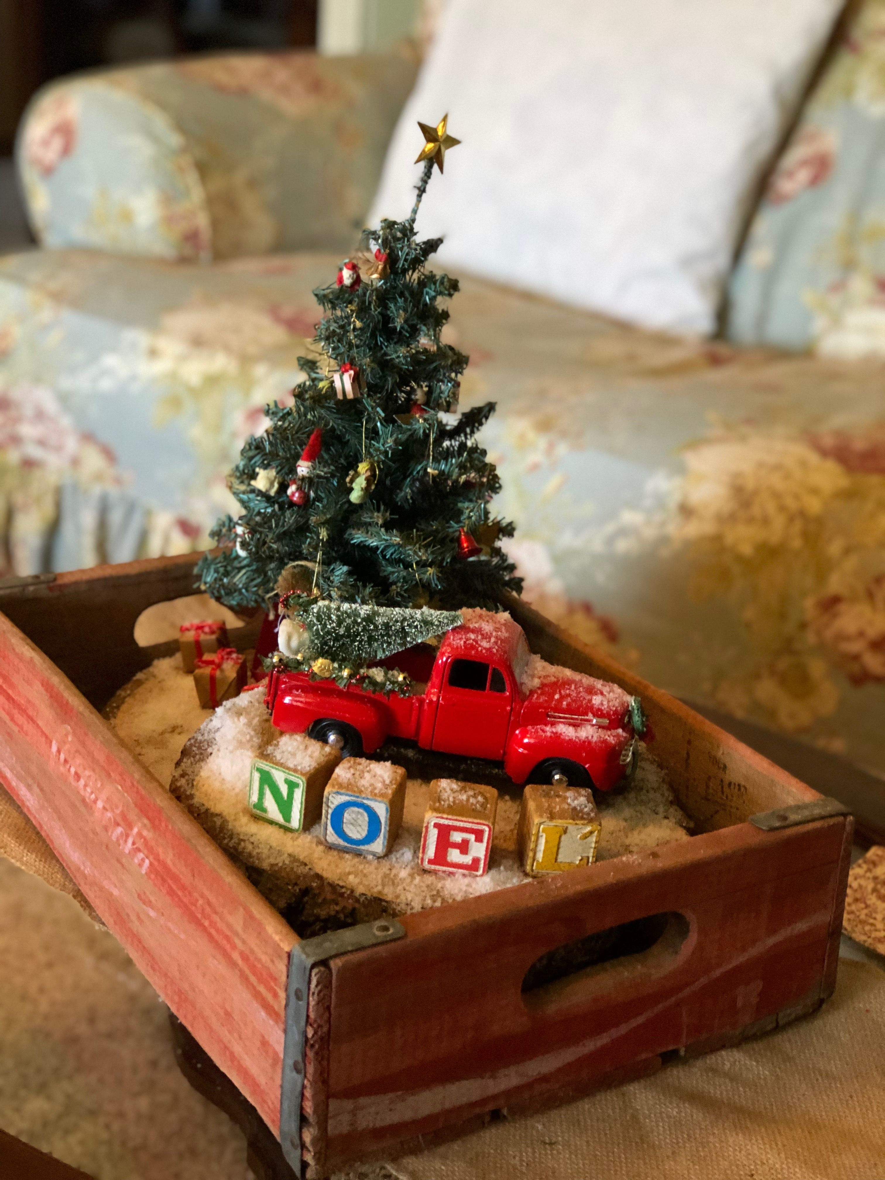 Red Truck Christmas Centerpiece Vintage Coke Crate Centerpiece Farmhouse Christmas Decor Christmas Vignettes Christmas Red Truck Christmas Decor Diy