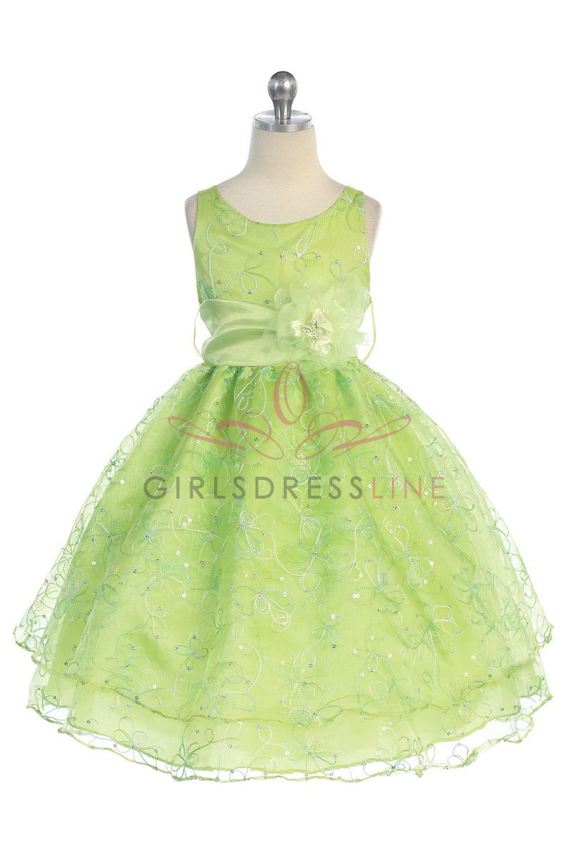 Lime Green Stunning Embroidered Sleeveless Dress with Detachable Sash CD-736-LM CD-736-LM $67.95 on www.GirlsDressLine.Com