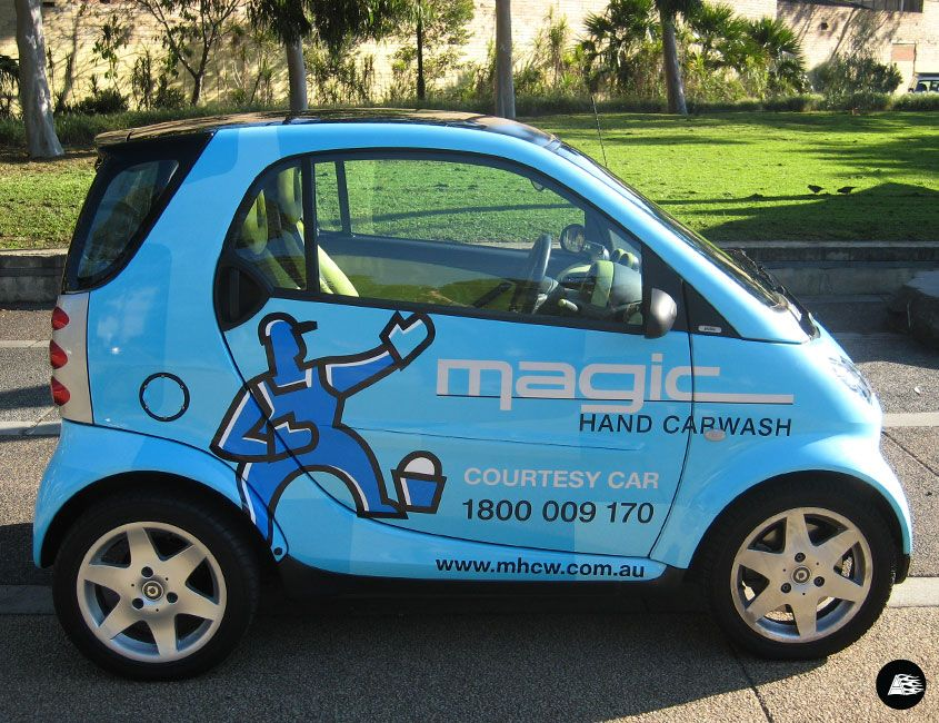 Courtesy car smart car vehicle advertising smart car