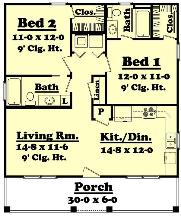 Small Country Home Plan Two Bedrooms Plan 142 1032 Country Style House Plans Monster House Plans House Floor Plans