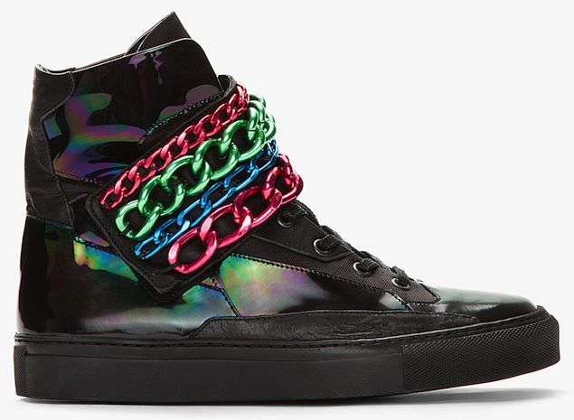Raf Simons Holographic Tricolor Chain Strap Sneakers
